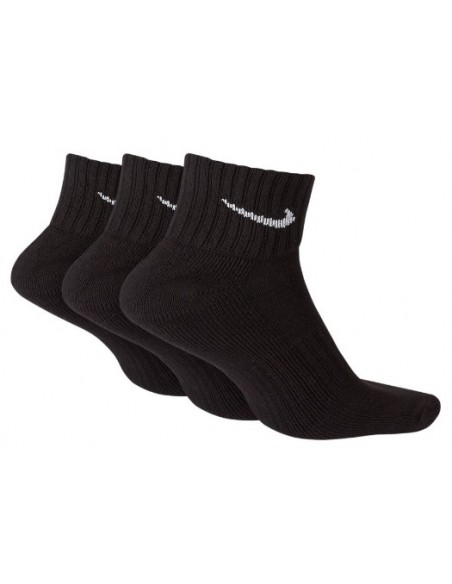 CALCETINES NIKE CUSHION QUARTER TRAINING TOBILLERO NEGRO (SX4926-001).