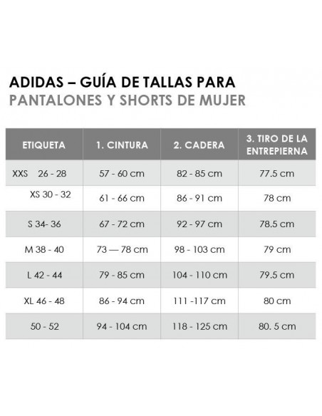 TALLAJE TEXTIL ADIDAS PANTALONES Y SHORTS.