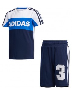 SET ADIDAS GRAPHIC BLANCO-AZUL-MARINO PS NIÑO (FM9826).