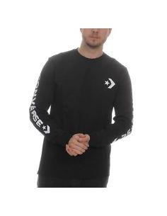 Camiseta de manga larga negra con logo y estrella en las mangas de Converse.